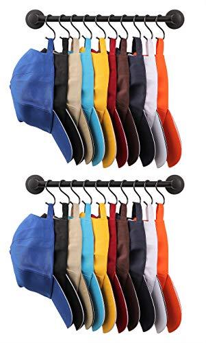 Hat Holder Organizer,Baseball Cap Holders Rack,Cap Organizer Hanger,Hat Storage,Coat Rack Wall Mounted With 10 Sliding Hooks(2pack) (black)