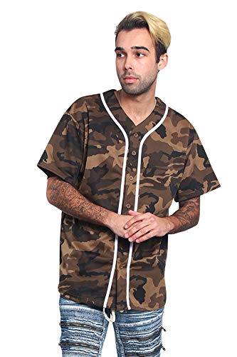Men's Classic Baseball Jersey Shirt Button Down BJ42 - Olive Camo - Large - KK6B