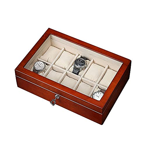 JIANGCJ Bella Reloj Box Organizer Case 10 Slot Wristwatch Caja Organizador Top de Pantalla Transparente para Almacenamiento y visualización de la joyería Storagecolor, sin Techo Solar
