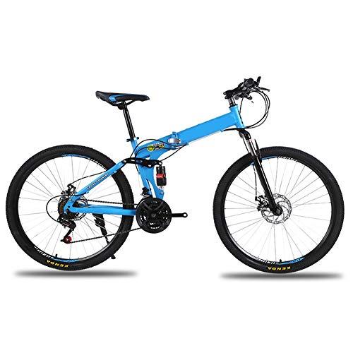 LYzpf MTB Mountainbike Faltbares Fahrrad 26 Zoll 21 Geschwindigkeiten Legierung Stärkerer Scheibenbremse Stadler Bike Für Erwachsene Mann Frau Student,Blue,26inch-21S