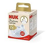 NUK Nature Sense - 2 tetinas para biberones de 0 a 18 meses, válvula anticólicos, tamaño pequeño, sin BPA, 2 unidades