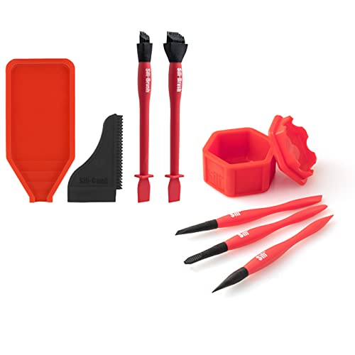 Sili Glue Kit with 2 Silicone Brushes • Sili Tray and Sili Comb/Squeegee Along with The Sili Glue Pod and 3 Pack of Sili Micro Glue Brushes