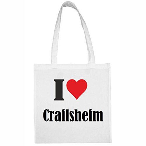 Reifen-Markt Tasche I Love Crailsheim Größe 38x42 Farbe Weiss Druck Schwarz
