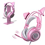 SOMIC G951s Pink Stereo Gaming Headset and Pink Headphone Stand for PS4, Xbox One, PC, Mobile Phone, 3.5MM
