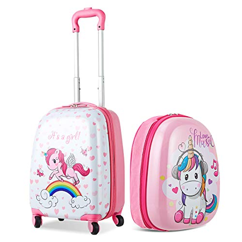 CASART 2 PCS Kids Luggage Set ABS Children Backpack Suitcase Trolley Bag Travel School 12'' 16'' (Style 7)