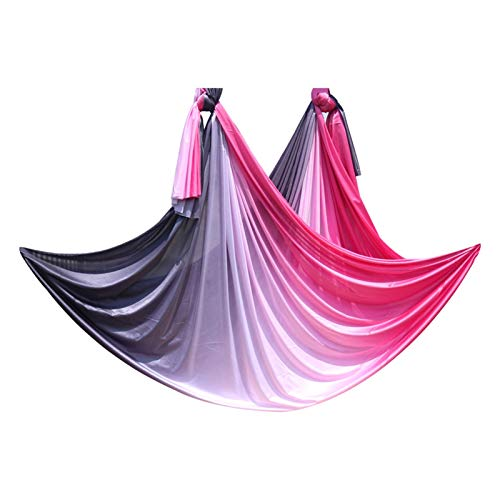 Yoga sling wall hanging suspension gymnastics ring Jet-setters yoga hammock set 5mx2.5m anti-gravity yoga belt Yoga for air shaker Wall bracket for hanging belt (Color : Red black color)