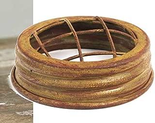 6 METAL Mason or Ball Canning Jar FLOWER Vase FROG LID Rustic Antique Mustard