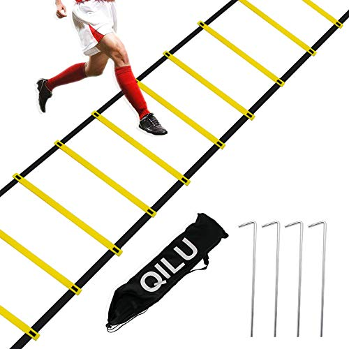 TOCO FREIDO Speed/&Agility Training Set 20ft Agility Ladder Set with 12 Rungs 1 Running Parachute and Footwork Drills Equipment 4 Adjustable Training Hurdle 2 Resistance Bands 12 Disc Cones