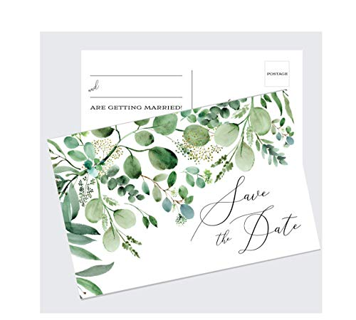 Eucalyptus Greenery Wedding Save The Date Cards, Set of 50 Save The Date Postcards, Wedding Invitation Cards