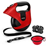 Mowis Retractable Dog Leash, 360° Tangle-Free, Heavy Duty up to 175Lbs Pets, 16ft Strong Nylon Tape with Waste Bag Dispenser, Pet Travel Bowl, One-Handed Brake/Pause/Lock (Color: Red)