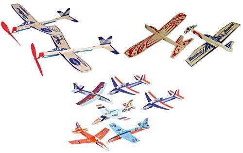 Balsa Wood and Foam Outdoor Toy Airplane Set - 2 Sky Streak Balsa Wood Rubberband Propellor Planes, 2 Super Hero Balsa Wood Glider Planes, and 6 Foam Model Plane Kits in 1 Set