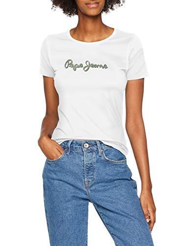Pepe Jeans Juana PL503862 Camiseta, Blanco (Off White 803), Large para Mujer