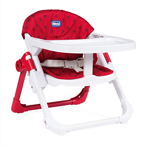 Chicco Chairy - Elevador asiento de silla regulable 4 posiciones, ligero y transportable, 6-36 meses, color rojo estampado mariquitas (Ladybug)