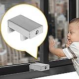 2 Pack Sliding Window Security Locks with Keys, Aluminum Alloy Window Wedge Safety