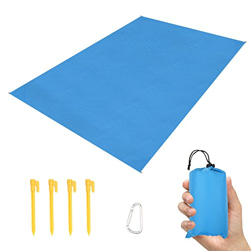 LAMA Waterproof Picnic Blanket, 140 x 200 Pocket Picnic Blanket Lightweight Large Beach Picnic Mat with ABS Tent Pegs Carrying Bag for Camping Hiking Travel Outdoor Activities Blue