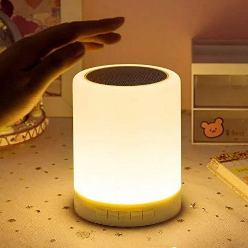 Luz de noche colorida con altavoz Bluetooth Control táctil inalámbrico Lámpara de mesa de escritorio Reloj despertador recargable Altavoz portátil