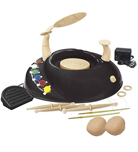Beginners Pottery Wheel Kit for Kids with Clay, Paints, and Tools 12 L x 16 W x 5 H