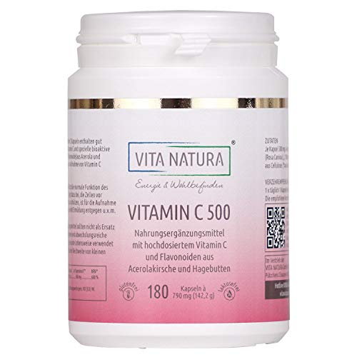 Vita Nature - Cápsulas de vitamina C de alta dosis - Cápsulas veganas - 500 mg - Fabricación alemana - Sin lactosa - 180 cápsulas en un paquete