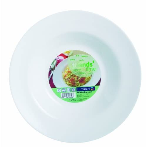 Luminarc Friends Time - Piatto per pasta grande, 28,5 cm, colore: Bianco