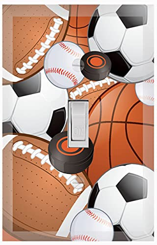 CREATE-A-MURAL KIDS SPORTS DECOR LIGHT SWITCH COVER PLATE 장식 보육원 10대 토들러 룸 욕실 욕실 DIY 벽 장식(스포츠)