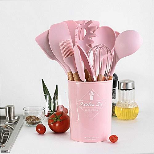 Maniglia in legno massello con secchio portaoggetti, in silicone, colore rosa, 11 pezzi