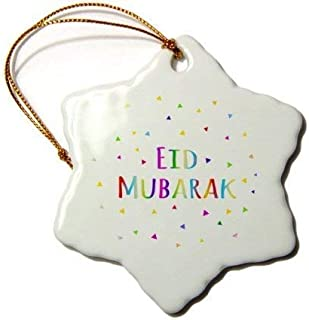 weewen Eid Mubarak Happy Eid Blessing After Ramadan Islamic Muslim Holidays Snowflake Porcelain Ornament Xmas Tree Decorative Ornaments Wedding Anniversary Keepsakes
