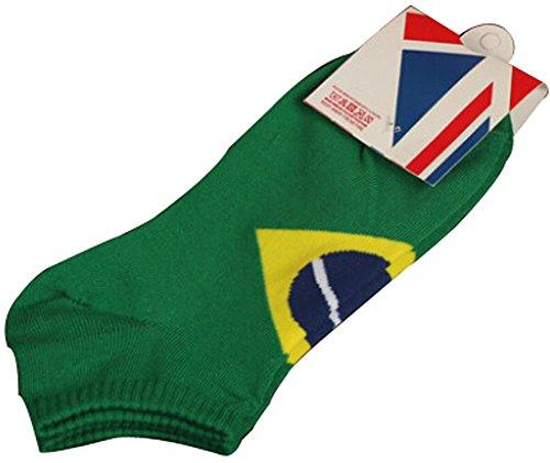 BLANCHO BEDDING Lot de 2 Flag Chaussettes en Coton Chaussettes pour Hommes Brésil #01