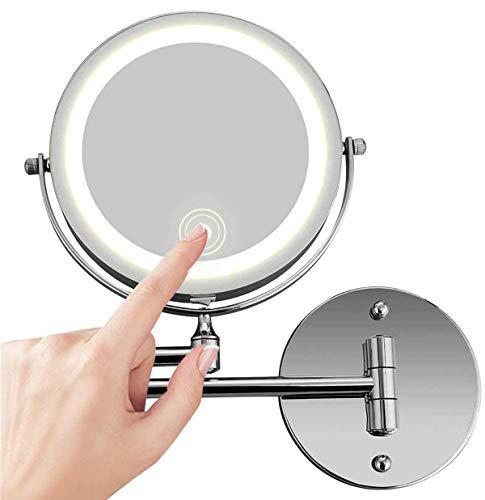 FeelGlad Schminkspiegel Beleuchtet Wandmontage, 10x Fache Vergrößerung Kosmetikspiegel und USB Wiederaufladbare Doppelseitig Touchscreen Dimmbarer LED Beleuchtung Befestigen Ohne Bohren