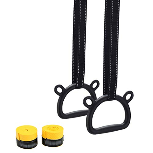 Ketamyy Gymnastic Rings Kids Plastic with Adjustable Straps Buckle Non-slip, Exercise Athletic Rings for Home Playground Gymnastics Workout Fitness Pull-Ups Black 3.5M