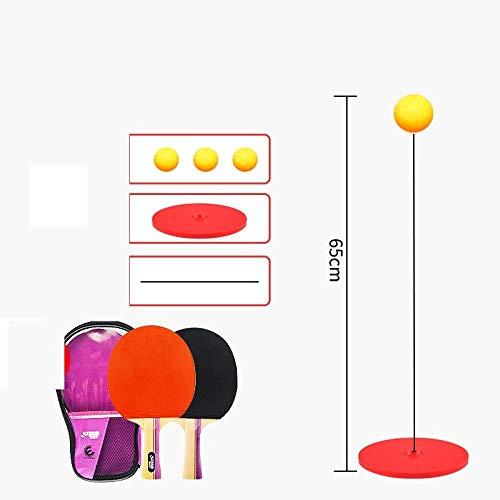 Schläger Tischtennis-Trainingsgerät selbstlernendes Artefakt StartseiteKindernetzrot elastisch flexibler Schaft Sauger Soldat Anti-Myopie-Metallboden + Holzschläger Schläger