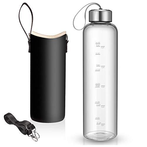 Wasserflasche aus Glas mit Nylon-Flaschenschutzhüllen und Edelstahldeckel, 1 l, zeitgekennzeichnete Messungen für unterwegs, zu Hause, wiederverwendbar, umweltfreundlich (Kaffee)