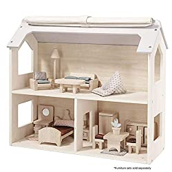 ✅ ENCOURAGES IMAGINATIVE PLAY: Miniature doll's house with style. A great house to be equipped with extra furniture. The roof is partly covered with fabric for easier access. Dolls and Furniture sets sold separately. Size: Width 49cm x Depth 20cm x H...