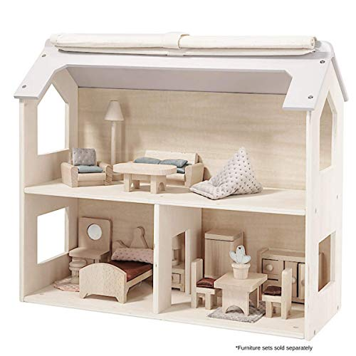 Clas Ohlson ® Wooden Dolls House - 3 Rooms, Untreated FSC Wood, Suitable For Ages 3+, Furniture and Dolls Sold Separately