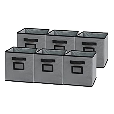 Sodynee Foldable Cloth Storage Cube Basket Bins Organizer Containers Drawers, 6 Pack, Black/Grey