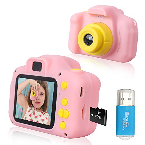 Rindol Toys for 4-9 Year Old Girls,Kids Camera Compact for Child Little Hands, Smooth Shape Toddler Camera,Best Birthday Gifts for 4 5 6 7 8 9 Year Old Girls with 16GB Memory Card