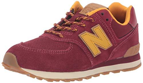 New Balance Boys' Iconic 574 Sneaker, Mercury Red/Gold Rush, 2 M US Infant