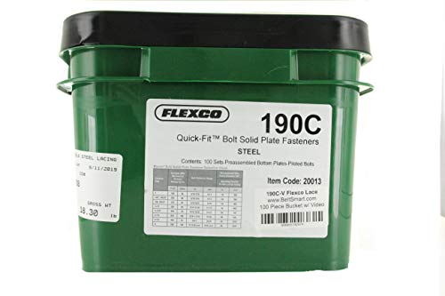 Genuine Flexco 190C Pail of 100 Sets Style 190 Quick Fit Bolt Solid Plate Fasteners with Bonus Installation Nails and Assembly Instruction Video Link (Item Code 20013)
