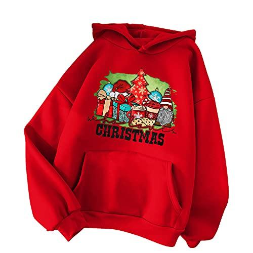 BIKETAFUWY Sudadera de Navidad para mujer, sudadera bsica, sudadera con capucha para mujer, con estampado de Navidad, para fiestas de Navidad, ropa deportiva, A40., M