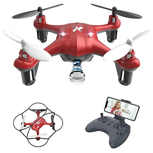 Giocattoli per Bambini Mini Drone con Telecamera FPV WiFi Trasmissione G-sensore AT-96 RC Quadcopter Regalo Un Pulsante di Decollo  Atterraggio ,modalità Senza Testa Protezioni 360° (Rosso)