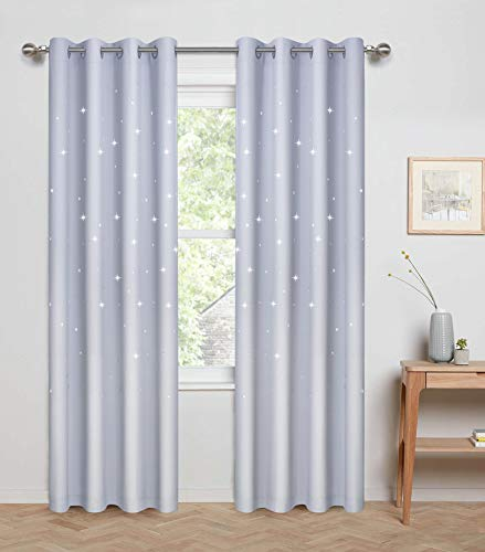 Anjee Laser Cutting Out Stars Blackout Curtains for Kids Room, Elegant Grommet Window Curtains for Room Darkening and Noise Blocking (2 Panels, W52 x L84, Greyish White)