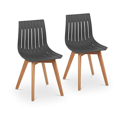Fromm & Starck Star_SEAT_16 Stuhl 2er Set bis 150 kg Sitzfläche 50 x 47 cm grau Kunststoffstuhl Stuhlbeine Buchenholz