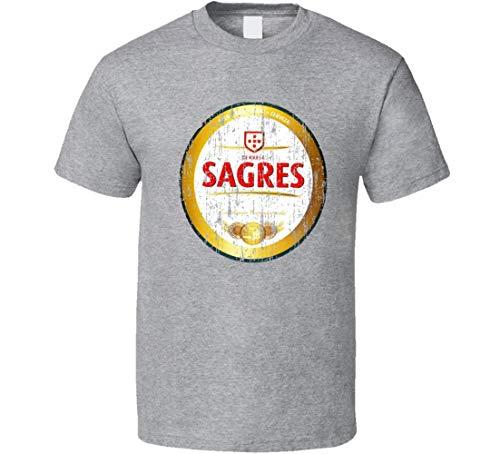 N/Y Sagres Cerveja portugiesisches cooles Bier Drink Worn Look T-Shirt Sport Grau Gr. 56, Schwarz