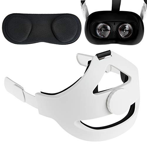 NEWZEROL Headpad + Funda Protectora de Lente + Funda Facial de Silicona Compatible con Oculus Quest 2, Ajustable Reduce la presión de la Cabeza y A Prueba de Polvo A Prueba de Agua Antideslizante