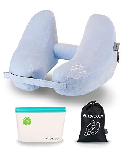 Nackenkissen Kinder Auto von FLOWZOOM® | Nackenhörnchen Kinder für Auto, Zug und Flugzeug | Aufblasbares Kinder-Reisekissen in H-Form mit Klettverschluss für Kids ab 3 Jahren
