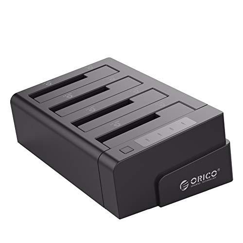 ORICO USB 3.0 zu SATA Offline Klon Festplatten Dockingstation, 4-Steckplatz Festplattengehäuse für 2,5 und 3,5 Zoll SATA HDD/SSD bis zu 4X 16TB mit 12V 6.5A Netzteil (Werkzeugfrei, LED Statusanzeige)