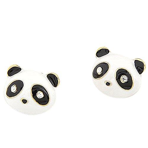 CAOLATOR Pendientes Plata Color en Forma de Linda Oso Pendientes Mujer de Animal Decoración del Partido Aretes para el Accesorios de Joyería(Panda)