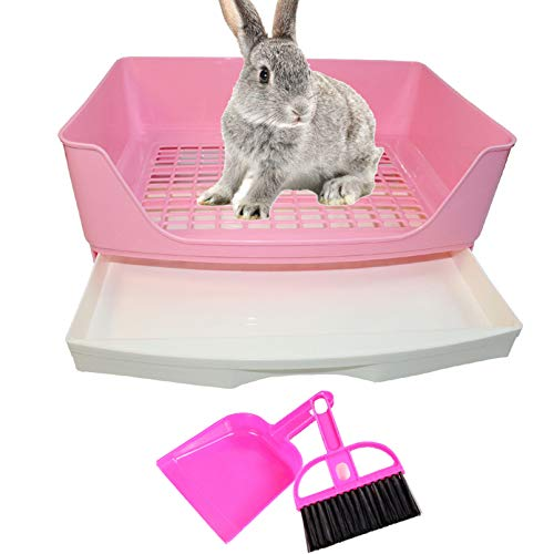 PINVNBY Large Rabbit Litter Box Bigger Pet Litter Pan Trainer with Drawer Corner Toilet Box for...