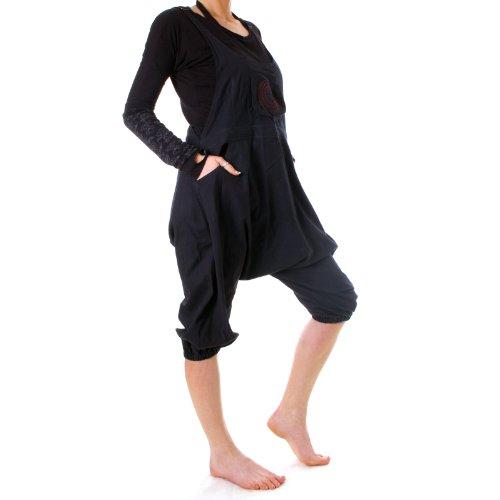 Vishes – Alternative Bekleidung – Kurze Harems Latzhose aus gewebter Baumwolle schwarz 46