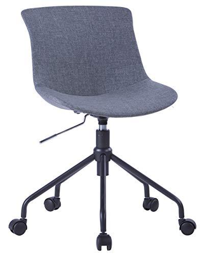 SixBros. Bürostuhl, Kleiner Schreibtischstuhl zum Drehen, Drehstuhl für's Büro oder Home-Office, stufenlos höhenverstellbar & leichtläufig, Sitzbezug aus Stoff, grau 7-08R/8178