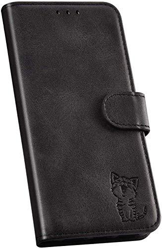 Ysimee Handyhülle kompatibel mit Huawei P30 Lite Leder, Einfarbig Schwarz Schutzhülle Brieftasche mit Kartenfach e Katze Muster, Klappbar Stoßfest Kratzfest Hülle Flip Handy Tasche Schale
